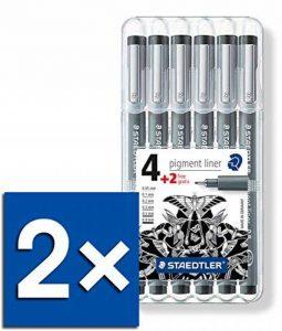 STAEDTLER Lot de 2 Fineliners pigment liner, noir, étui de 4+2 GRATUIT de la marque Staedtler image 0 produit
