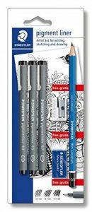 Staedtler - Pigment Liner 308 - Blister 3 Feutres Noirs Pointe Calibrée 0,3/0,5/0,7 + Taille-Crayon + Gomme + Crayon HB de la marque Staedtler image 0 produit