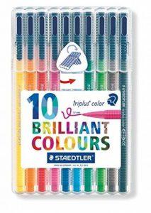 Staedtler Triplus color 323, Feutre de haute qualité, Pour écriture, dessin et coloriage, Set de 10 couleurs lumineuses, pointe moyenne 1 mm, 323 SB10 de la marque Staedtler image 0 produit