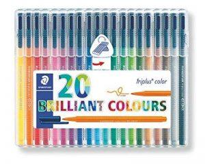 Staedtler Triplus color 323, Feutre de haute qualité, Pour écriture, dessin et coloriage, Set de 20 couleurs lumineuses, pointe moyenne 1 mm, 323 SB20 de la marque Staedtler image 0 produit
