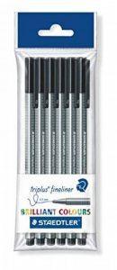 Staedtler Triplus fineliner, Feutre superfin de haute qualité, Pour écriture et dessin, pointe extrafine 0.3 mm,Set de 6 stylos noirs, 334-9 PB6 de la marque Staedtler image 0 produit