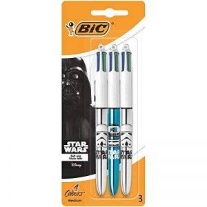 Star Wars BIC 4 Couleurs Shine Stylos-Billes - Corps Métalliques Assortis, Blister de 3 de la marque BIC image 0 produit