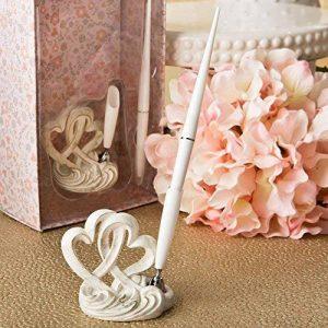 Style vintage Double Design Coeur Réception Livre de mariage Stylo Set & Support de la marque FASHIONCRAFT image 0 produit