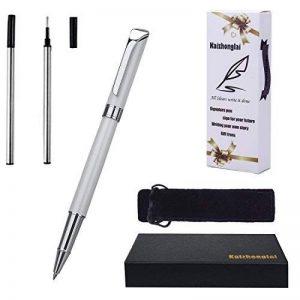 Stylo à bille avec boîte cadeau - Collection tendance avec manche blanc et 2 recharges fines en acier inoxydable de la marque kaizhonglai image 0 produit