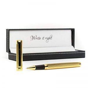 Stylo bille Gerald haute qualité style années 20Gold–inoxydable, élégant, élégant,–Business avec boîte cadeau Etui en cuir haut de gamme de stylo bille mine mitpazifik Bleu–Conçu en Allemagne de la marque RuPen image 0 produit