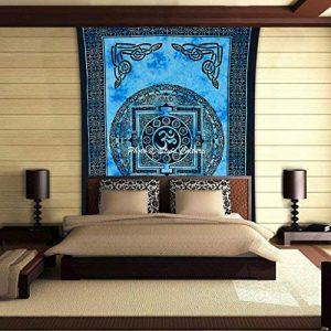 Stylo Culture Psychedelique Om Mandala Tapisserie Coton Bleu Noir Jumelé Imprimé Méditation Mur suspendu de la marque Stylo Culture image 0 produit