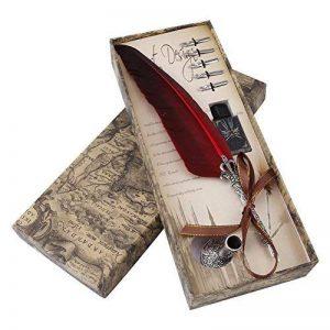 Stylo Dip à Plume Plume d'Oie 0.5mm Stylo-pinceau avec Plume d'Oie Taillée Stylo Meilleur Cadeau Exécutif Antique (Bouteille d'encre vide) (Red) de la marque image 0 produit