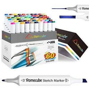 Stylo Marqueur Homecube 48 Couleurs Marker pen Marqueurs à Double Pointes Encre Stylo Marker Peints à la Main avec Boîte de Crayon Conception d'animation (48 pcs blanc corps) de la marque Homecube image 0 produit
