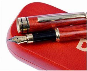 Stylo plume en bois de Rose Luxe avec pochette offerte | 100% fabriqué à la main | Set de stylos plumes de cadres| Collection de stylos vintage| Stylo idéal comme cadeau professionnel et classiq de la marque Dryden image 0 produit
