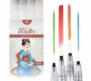 Stylos pinceaux à eau - Set de 4 pointes pinceaux – parfaits pour utilisation avec des peintures aquarelle, des crayons, des stylos pinceaux, des marqueurs solubles à l'eau – Se mélange à l'eau – pratique – Aqua Pen – MozArt Supplies de la marque MozArt S image 0 produit