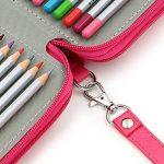 Sumnacon 124 PU cuir Trousse de crayon, sac de crayon pour Dessinateur Professionnelle ou Amateur (Rose) de la marque Sumnacon image 4 produit
