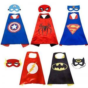 Super Hero Capes HTINAC 5 Capes et 5 Masques - Enfants Cadeaux d'anniversaire - Fête d'Anniversaire Saveurs de Conception Cosplay - Jouets pour Filles et Garçons - Value Kit - Generic de la marque HTINAC image 0 produit