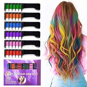 temporaire lumineux Cheveux Craie Lot-Kalolary métallique Paillettes pour tous les cheveux Usage Construit en Mastic, pour la Coloration de cheveux enfants fête et Cosplay DIY, 6couleurs de la marque Kalolary image 0 produit