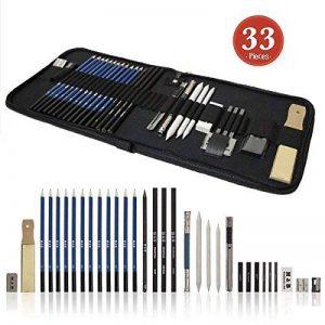 tinpa 33Lot de stylos Crayons de papier skizzier et crayon Kit de dessin graphite & Charcoal Clé Crayons, gomme, taille-crayon, en dessin Kit d'accessoires pour artistes, les débutants, les étudiants de la marque Tinpa image 0 produit