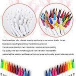 TOPmore Stylo gel à deux pointes -60 couleurs uniques une pointe de pinceau (1-2mm)et une autre 0,4 mm Pointe Fibre Pointe Feutre stylos pour le coloriage pour adultes meilleur pour la coloration (60 Couleurs Rond) de la marque TOPmore image 1 produit