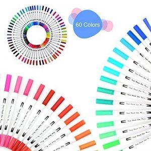 TOPmore Stylo gel à deux pointes -60 couleurs uniques une pointe de pinceau (1-2mm)et une autre 0,4 mm Pointe Fibre Pointe Feutre stylos pour le coloriage pour adultes meilleur pour la coloration (60 Couleurs Rond) de la marque TOPmore image 0 produit