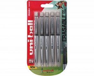 Uf-220Signo TSI effaçable stylos à bille, Noir encre effaçable, pointe moyenne, paquet de 5 de la marque Uniball image 0 produit