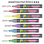 Umitive 8pcs Stylo Liquide Marqueur Craie, Vibrante Couleurs Métalliques,6mm Feutre Pointe, Crayon Craie pour Tableau Noir, Ardoise, Verre, Lumineux, Fenetre de la marque Umitive image 6 produit