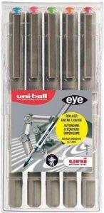 Uni-ball UB157/5 ASSF06 Trousse de 5 Rollers Encre Liquide Eye Fine 0,7 mm Assortis de la marque Uniball image 0 produit