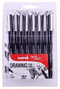 Uniball PIN Pack de 8 Feutres avec assortiment de 8tailles de pointe Noir de la marque Uniball image 0 produit