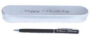 Vincenza Personalsied Noir stylo à bille et étui à crayons en métal deux gravé le cadeau parfait Lot. Idéal pour les anniversaires et occasions de la marque Vincenza image 0 produit