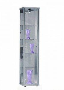 Vitrine 176x37x33 cm collection miniature couleur argent avec 4 étagères en verre, avec éclairage de la marque K-Möbel image 0 produit