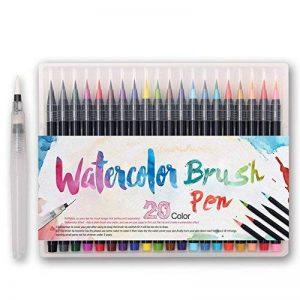 WCOCOW 20 couleurs Watercolor Brush Marker Pens Soft Flexible Tip for parfait pour cahiers de coloriage adulte, mangas, comics, calligraphie +1 water brush de la marque WCOCOW image 0 produit