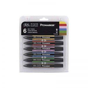 Winsor & Newton Promarker Set de 6 Marqueurs Tons Moyens de la marque Winsor & Newton image 0 produit