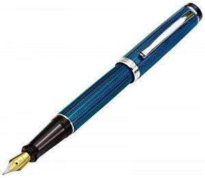Xezo Laiton Stylo à plume fine en français Bleu métallique de couleur, taille diamant gravé, plaqué platine, numérotée (Incognito Bleu F) de la marque Xezo image 0 produit