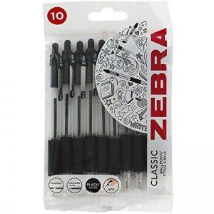 Zebra Lot de 10 stylos bille rétractables à pointe médium Noir de la marque Zebra image 0 produit