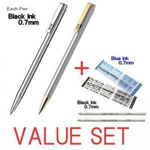Zebra Mini stylo à bille d'encre noire/0.7mm/T-3(Argent Corps) et T-5(Silver + Gold Corps) chaque 1pen + 2recharges d'encre (1BLACK & 1blue d'encre) Value Set/avec notre magasin Produit original description de la marque Zebra image 0 produit